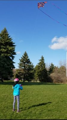 A child flying a kite